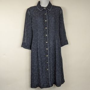 J Jill Long Tunic Button Down Shirt Dress Blue 4P